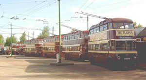 Four trolleys awaiting service runs